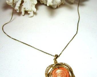Vintage gold filled sterling silver & coral flower necklace