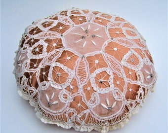 Antique battenburg lace and vintage silk lining round pillow