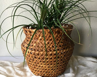 Vintage Woven Rattan Planter / Wicker Basket