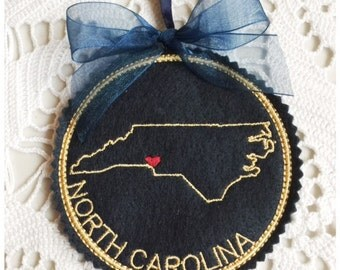 I Heart North Carolina Coaster and Ornament Machine Embroidery Design Instant Download I Love North Carolina with Positionable Heart