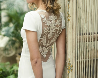 Ivory Open Back Wedding Dress with Lace on the Back and with Train L24, Romantic wedding gown, Simple Wedding Dress, Unique Wedding Dress