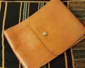 Orange Leather Pouch with Strap, Belt Bag with Brass Snap