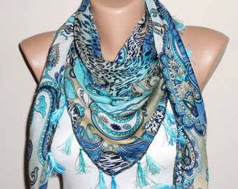 blue scarf multicolor cotton scarf turkish scarf yemeni scarf oya scarf woman scarf
