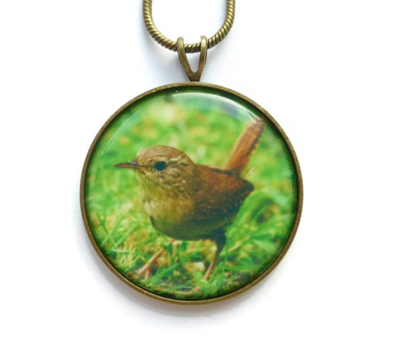 wren pendant necklace bird jewelry song bird pendant