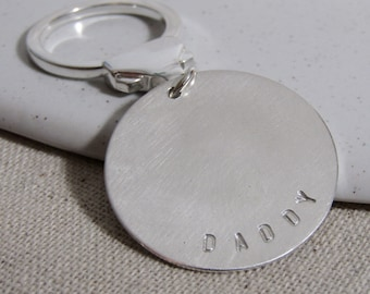 Personalised Silver keyring, Sterling Silver Keyring, Handmade Silver keyring, daddy present, Father's Day gift, key chain