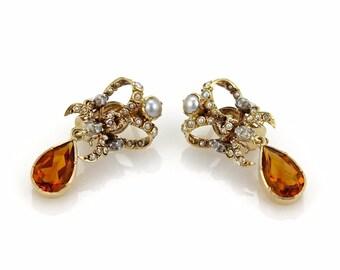 17566 - Vicorian Citrine Seed Pearls & Rose Cut Diamond Fancy Drop Dangle Earrings