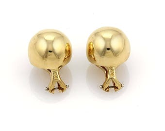 18486 - Tiffany & Co. Solid 18k Yellow Gold 13mm Dome Ball Clip On Earrings