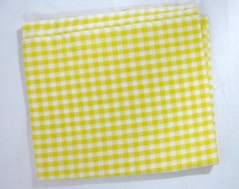 """Yellow Gingham Checked Fabric, 36"""" wide x 1 1/2 yards"""