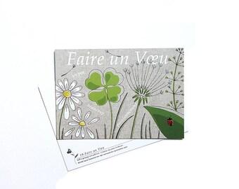 """Postcard clover and Ladybug """"Make a wish"""""""