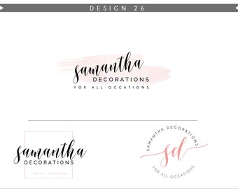 Watercolor Logo Design Branding Package Inc. Photography Logo Watermark - DANDELION initials letters script cute Watercolor Logo- Logo 26