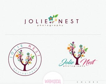 Flower tree logo - Premade Photography Logo and Watermark florist , Classic Elegant Script Font full colorful children photography branding