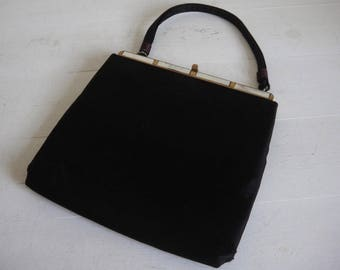 """Vintage Small Black Clutch Bag with Shell Detail - Lester Bags - 7.5 x 7.5"""""""