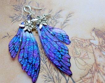 Fairy Wing Earrings, Fairy Earrings, Faerie Earrings, Iridescent Purple Earrings, Hand Painted, Purple Dangle Earrings, Boho, Hippy, Blue