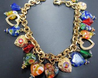 Millefiori Heart Bracelet