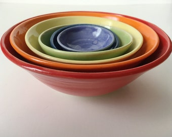 Rainbow Nesting Bowls Set - 6 piece Small -made to order