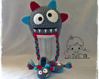 Monster Earflap Beanie & Baby Booties Set - PDF Crochet Pattern - Instant Download