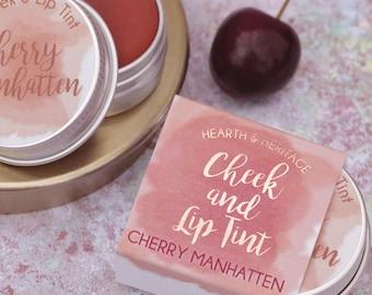 Red Lip and Cheek Tint, Cherry Manhatten, beauty gift.