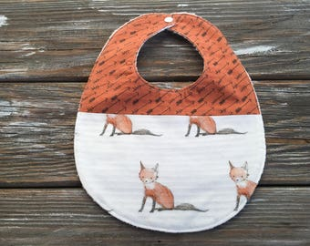 Bib ~ Two Toned/Quilted ~ Woodland//Tribal//Native//Arrows//Fox//Forest//Rustic