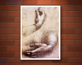 Leonardo da Vinci drawings, studies, Study Of Hands FINE ART PRINT, European italian art, Renaissance, vintage antique art prints, posters