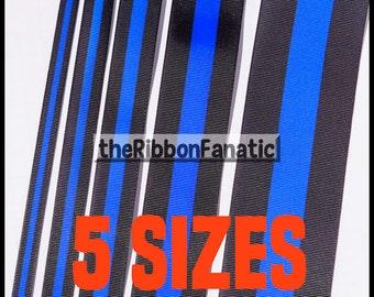 "5 yds or 3yds Thin Blue Line Police Lives Matter 5 Sizes  3/8"" 5/8"" 7/8"" 1.5"" 2.25""  Grosgrain Ribbon"