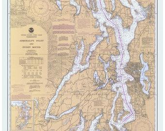 Puget Sound  1984  Nautical Map - Washington - PC Big Area 6401 - Reprint