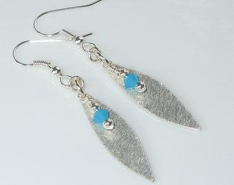 Swarovski Crystal & Bright Silver Leaf Charm Earrings