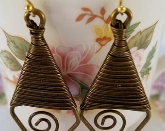 Wire wrapped antique gold earrings