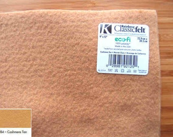 Felt - Cashmere Tan - Kunin Eco Rainbow Classic Felt Made from Recycled Plastic Bottles Eco-Fi Eco Friendly Recycled Polyester