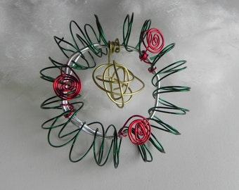 Steampunk Wire Wreath, Holiday Christmas Ornament, Wire Sculpture