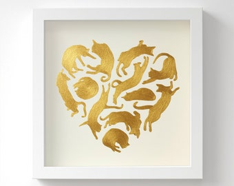 Cats Heart in Gold – Original Acrylic Painting – Birthday Gift – Handmade in 6 Metallic Shades – Cat Gift for Her – 23 x 23 cm – Unframed