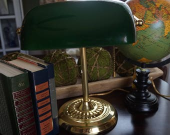 Vintage, Green Glass Library Lamp