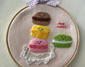 French Macarons  Embroidery Hoop Wall Art, Felt Wall Art, Nursery Decor, Home, Birthday Gift