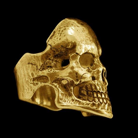 Mens Solid Gold Skull Rings