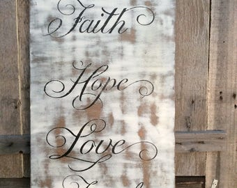 Rustic Chalk Paint Wooden Plaque- Blessings, Hope, Love, Faith, Family