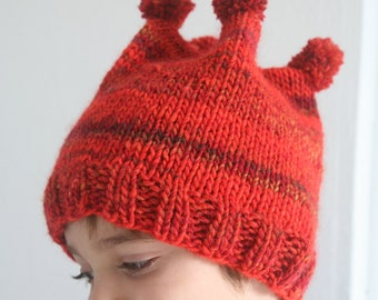 Hand Knitted Pom Pon Children Hat. Hand Knitted Hat. Burgundy Red Hat. Wool Hat. Ready to Ship.