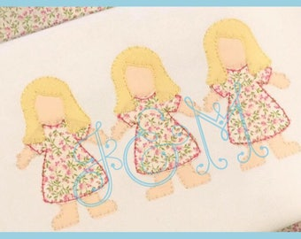 5x7 Paper Doll Vintage Stitch Embroidery Design