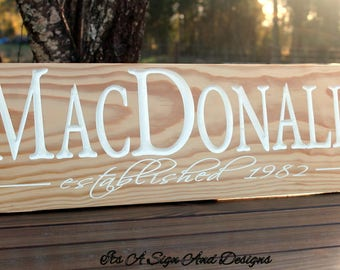 Wedding Gift, Personalized Wooden Sign, Wedding Reception Ideas, Family Established Sign, 25th Anniversary Gift, Anniversary, Wedding Sign