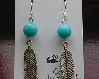 Handmade beautiful bohemian Boho turquoise and tibetan silver feather earrings