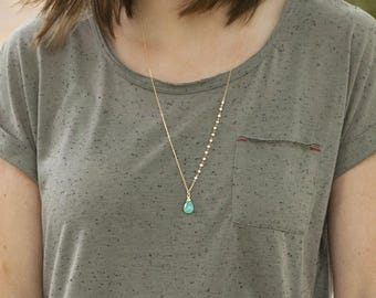 Erin - Long Aqua Chalcedony Pearl Necklace in Gold