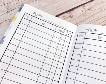 Traveler's Notebook POCKET Size Bill Pay Checklist