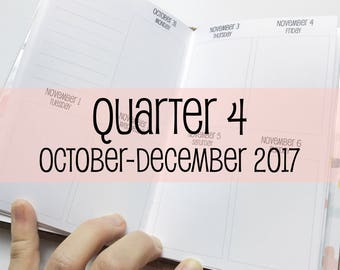 Traveler's Notebook POCKET Size Week on Two Pages in VERTICAL Layout {Q4 | October-December 2017} #600-34