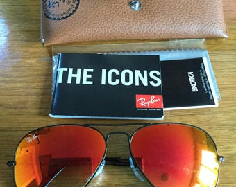 New Old Stock Vintage Red Polarized Ray Ban Aviator Sunglasses with Case