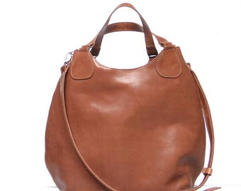 Large leather bag colour camel