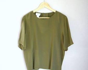 Vintage Olive Green Silk T-Shirt Minimalist Short Sleeve Blouse