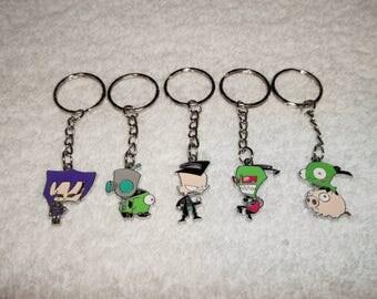 Handmade INVADER ZIM Anime Inspired Keyring Set of 5 Handbag Charms Keychain