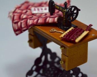 Antique Style Treadle Sewing Machine in 1/12th Scale with Accessories for Your Dollhouse, Dress Shoppe, Quilt Shoppe, or Ladies Shoppe