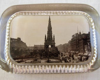 Vintage 1920's Souvenir Glass Paperweight  - Scott Monument - Edinburgh - Scotland