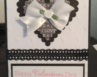 Heart and Bow Valentines Day Card Handmade V28
