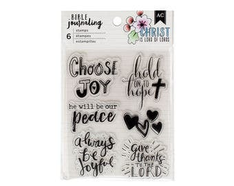 Bible Journaling Stamps CHOOSE JOY by American Crafts Bible Journaling 6 pc Clear stamp set 378669 1.cc1x