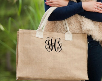 Monogrammed Burlap Tote Bag // Bridesmaid Gift //